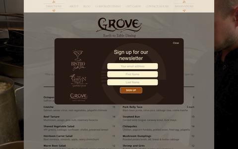 Screenshot of Menu Page groverestaurant.com - Menu | Grove - captured March 5, 2016