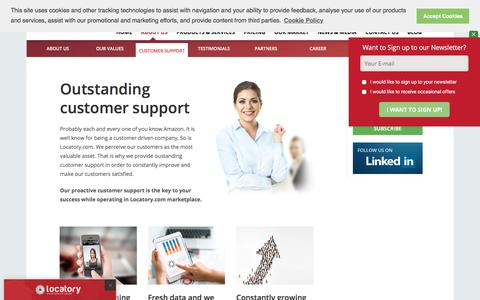 Screenshot of Support Page locatory.com - Customer support - captured July 4, 2019