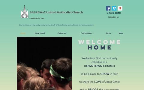 Screenshot of Home Page broadwayunitedmethodist.com - Broadway United Methodist Church - captured April 27, 2017