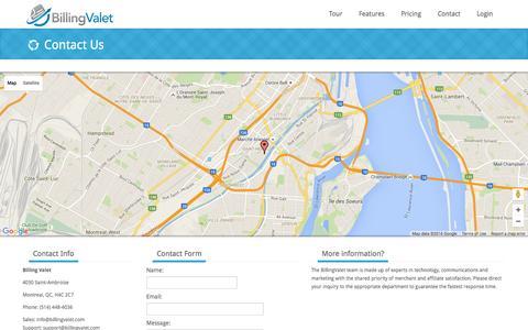 Screenshot of Contact Page billingvalet.com - Billing Valet | Subscription billing made easy - captured March 3, 2016