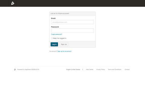 Screenshot of Login Page appdirect.com - Log In | AppDirect - captured Nov. 2, 2016