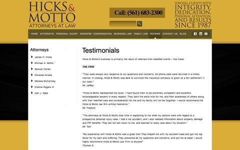 Screenshot of Testimonials Page hmelawfirm.com - Testimonials | Hicks And Motto - captured Aug. 7, 2017