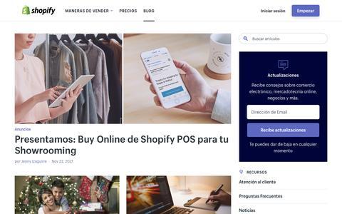 Screenshot of Blog shopify.com - Blog Marketing Online: Noticias E commerce, SEO y Social Media - captured Nov. 22, 2017
