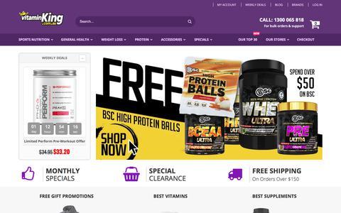 Screenshot of Home Page vitaminking.com.au - Vitamin King - Discount Vitamins & Supplements - captured Sept. 17, 2019