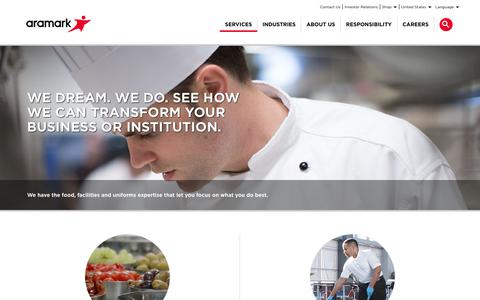 Screenshot of Services Page aramark.com - Services | Aramark - captured March 14, 2018
