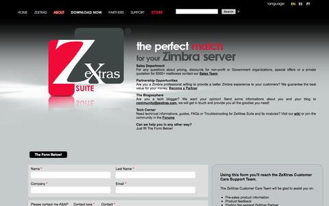 Screenshot of About Page Contact Page zextras.com - ZeXtras SUITE for your Zimbra server - Contact us - captured Oct. 26, 2014