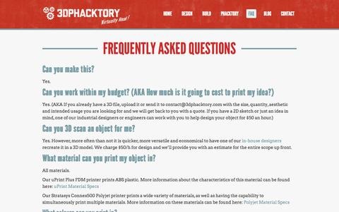 Screenshot of FAQ Page 3dphacktory.com - Frequently Asked Questions - - captured Nov. 5, 2014
