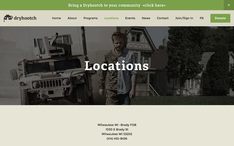 Screenshot of Locations Page dryhootch.org - Locations — Dryhootch - captured Nov. 24, 2016