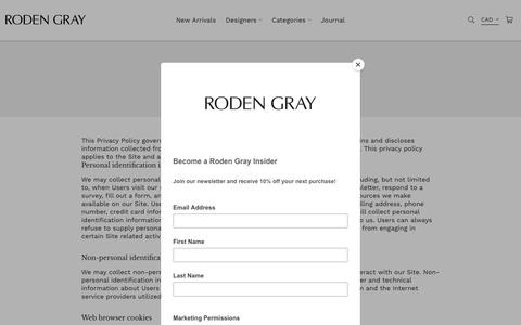 Screenshot of Privacy Page rodengray.com - Privacy Policy – Roden Gray - captured April 22, 2019