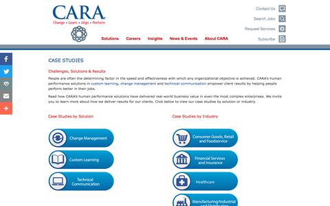 Screenshot of Case Studies Page caracorp.com - Case Studies - Performance Consulting Firm - captured Jan. 28, 2018