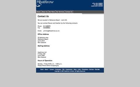 Screenshot of Contact Page heathrow.co.nz - Contact Us - captured Sept. 30, 2014