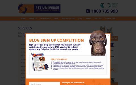 Screenshot of Services Page petuniverse.com.au - Services | Pet Universe - captured Oct. 27, 2014
