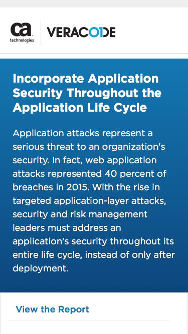 Incorporate Application Security Throughout the Application Life Cycle    Veracode