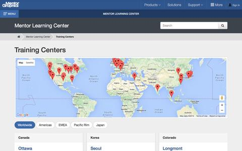 Screenshot of Locations Page mentor.com - Training Centers - Mentor Graphics - captured Jan. 27, 2016