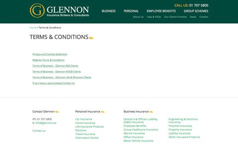 Screenshot of Terms Page glennons.ie - Terms & Conditions - Glennon - captured Oct. 14, 2017