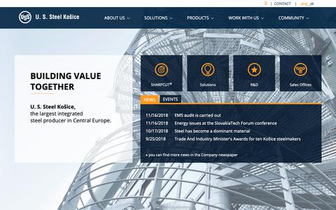 Screenshot of About Page Contact Page Products Page usske.sk - U. S. Steel Košice - Home - captured Nov. 23, 2018