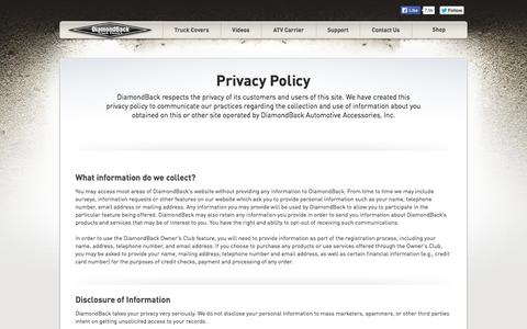 Screenshot of Privacy Page diamondbackcovers.com - Privacy Policy : DiamondBack Truck Covers - captured Oct. 5, 2014