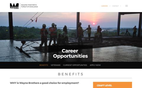 Screenshot of Jobs Page waynebrothers.com - Concrete Construction Jobs and Careers in the Southeast - captured Oct. 27, 2017