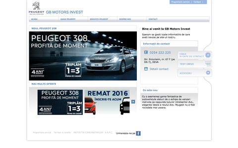 Screenshot of Home Page gb-motors.ro - Peugeot | GB Motors Invest - captured May 27, 2016