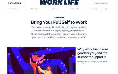 Screenshot of Blog atlassian.com - Bring Your Full Self to Work Archives - Work Life by Atlassian - captured Feb. 8, 2020
