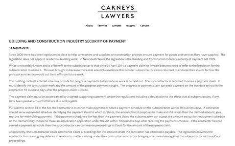 Screenshot of Blog carneys.com.au - Blog – Carneys Lawyers - captured Sept. 27, 2018