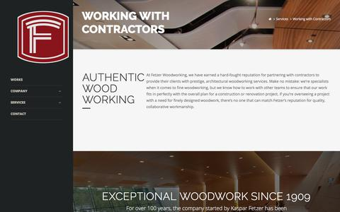 Screenshot of Services Page fetzerwood.com - Fezter Woodwork Co. | Working with Contractors - captured Oct. 13, 2017