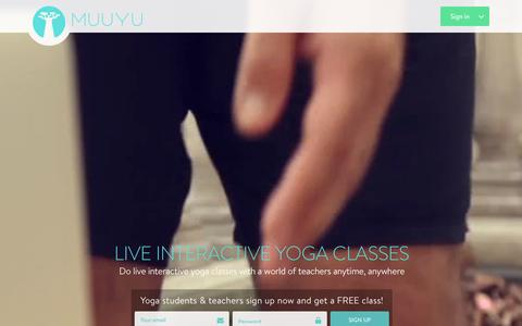 Screenshot of Home Page muuyu.com - Muuyu : Live Online Yoga Classes - captured Dec. 20, 2015
