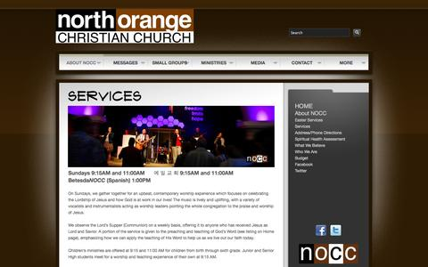 Screenshot of Services Page nocc.org - NOCC - Services - captured Oct. 7, 2014