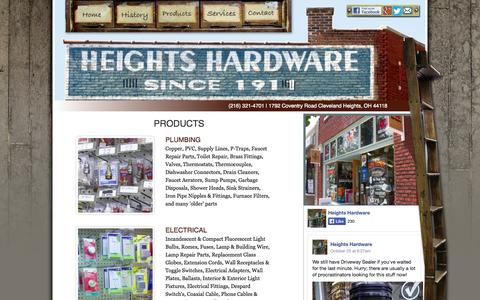 Screenshot of Products Page heightshardware.com - Heights Ace Hardware Store at Coventry Cleveland Ohio | Benjamin Moore Paints, Key Cutting, Plumbing, Lightbulbs, Windows, Screens, Cut to Size Repair - captured Oct. 28, 2014