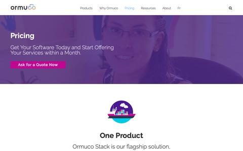 Screenshot of Pricing Page ormuco.com - Ormuco Pricing - Get Your Software Today & Start Providing Cloud Services within a Month - captured Nov. 19, 2018