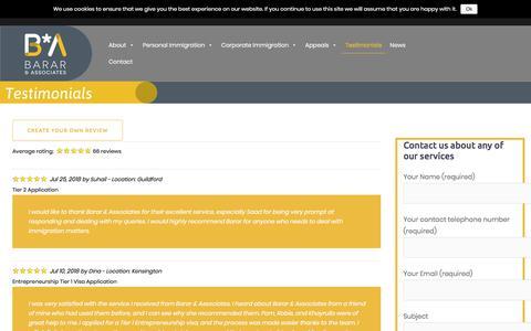 Screenshot of Testimonials Page bararassociates.com - Barar and Associates Testimonials - Barar Associates - captured Aug. 1, 2018