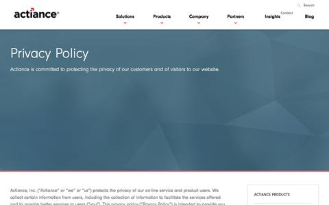 Screenshot of Privacy Page actiance.com - Actiance Privacy Policy - captured Jan. 14, 2016