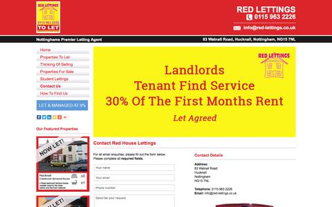 Screenshot of Contact Page red-lettings.co.uk - Property Management Nottingham By Red Lettings - Contact Us - captured Sept. 21, 2018