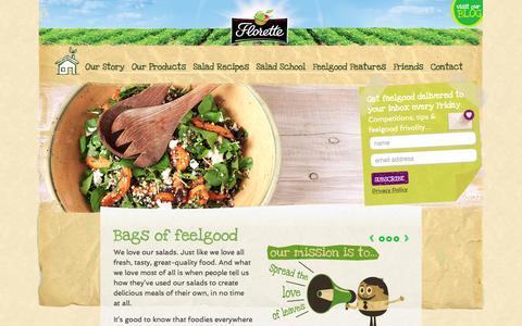 Screenshot of Home Page florettesalad.co.uk - Bags of feelgood - Florette Salad - captured Feb. 10, 2016