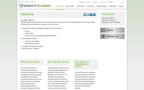 Screenshot of Products Page identitylogix.com - IdentityLogix - Products - captured Jan. 8, 2016