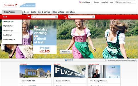 Screenshot of Home Page austrian.com - Austrian Airlines - Book cheap flights now - captured Sept. 18, 2014
