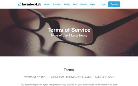 Screenshot of Terms Page inventorylab.com - Inventory Lab - Home - captured Jan. 9, 2016