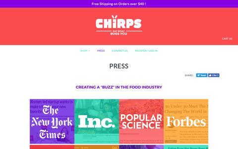 Screenshot of Press Page sixfoods.com - Press – Chirps Chips - captured Jan. 20, 2017