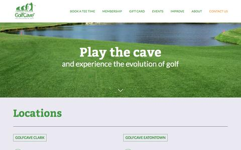 Screenshot of Contact Page golf-cave.com - Indoor Golf near Asbury, Middletown, Woodbridge, Freehold, Brick, Westfield, Cranford, Scotch Plains, Millburn, Summit, Jersey City, Rumson, Deal, Colts Neck, Little Silver, Monmouth Beach New Jersey | Virtual Golf | Simulators | GolfCave - captured May 20, 2017