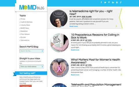 Screenshot of Blog memd.me - Blog - MeMD - captured Oct. 27, 2014