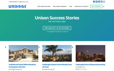 Screenshot of Case Studies Page unison.com - (8) New Messages! - captured Feb. 14, 2019