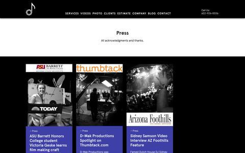 Screenshot of Press Page dmakproductions.com - Press - captured Sept. 30, 2018