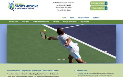 Screenshot of Home Page sdsm.net - San Diego Sports Medicine & Orthopaedic Center |  San Diego Orthopaedic Surgeons - captured Oct. 5, 2017