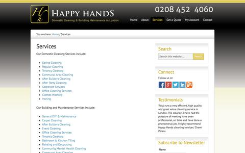Screenshot of Services Page happy-hands.biz - Cleaning Services London - Professional Cleaners in London | Happy Hands - captured Oct. 2, 2014