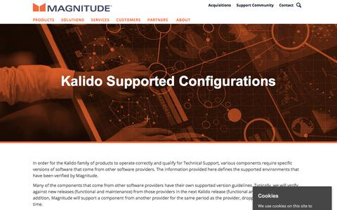 Screenshot of Support Page magnitude.com - Kalido Supported Configurations   Magnitude Software - captured Oct. 3, 2019