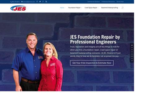 Screenshot of Home Page jeswork.com - JES Foundation Repair Virginia | Crawl Space | Waterproofing - captured Sept. 12, 2015