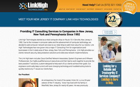 Screenshot of About Page linkhigh.com - Looking For A Great New Jersey IT Company? Start By CLICKING HERE! IT Support - captured Oct. 4, 2014