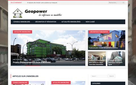 Screenshot of Home Page geopower.ca - Articles sur l'immobilier - Geopower - captured Sept. 4, 2015