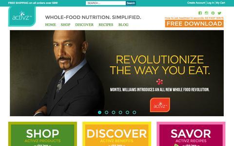 Screenshot of Home Page activz.com - Activz - Whole-food nutrition. Simplified. - captured Sept. 19, 2014