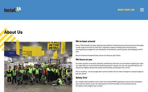 Screenshot of About Page installex.com.au - About Us - InstallEx - captured Sept. 19, 2018